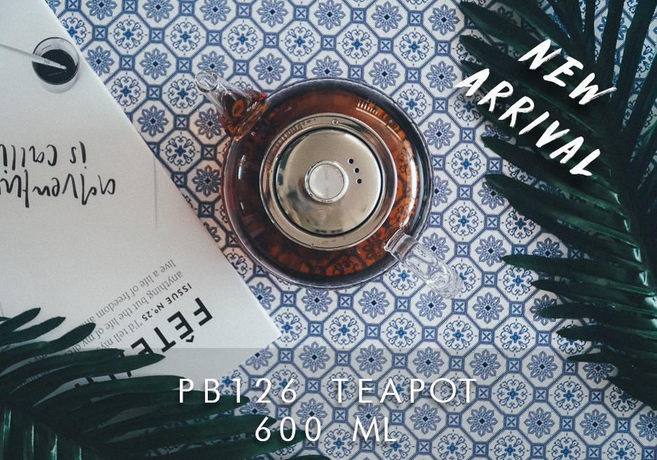 PB126 กาน้ำชาแก้วใส ที่กรอง Stainless_600 ML